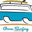 Blue Van Gone Surfing Chevrolet Corvair Greenbriar Surf Van by Frank Schuster