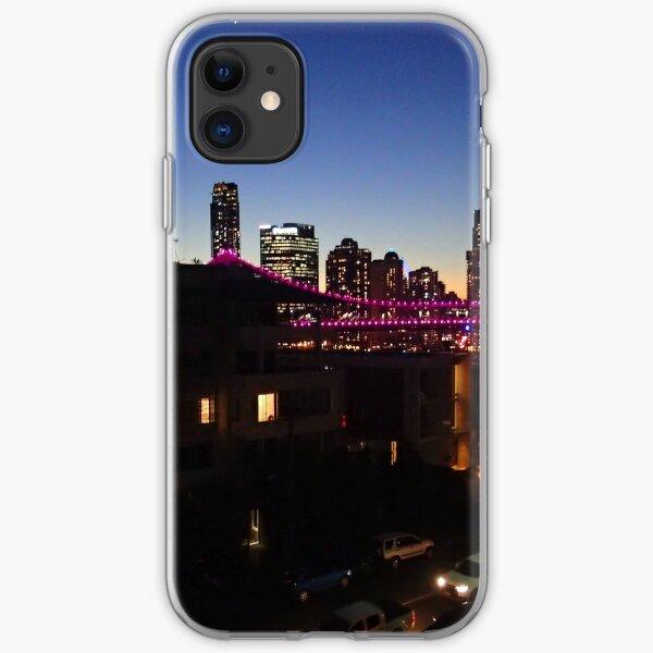 sunset over the bridge iPhone Soft Case