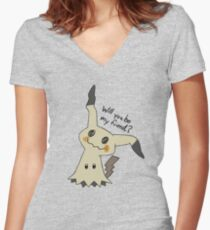 Will you be my friend? Mimikyu Women's Fitted V-Neck T-Shirt