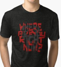 12 Monkeys- where are you right now? (grey monkey) Tri-blend T-Shirt