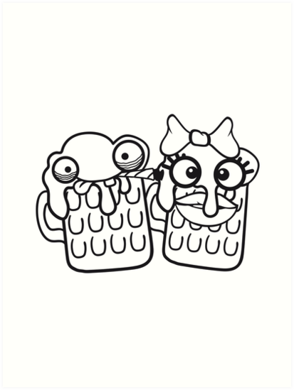 Amour Couple Couple Amoureux équipe Fille Femme Visage De Dessin Animé Comique Drôle Femme Soif Logo Boisson Alcoolisée Amusant Célébrer Beuveries