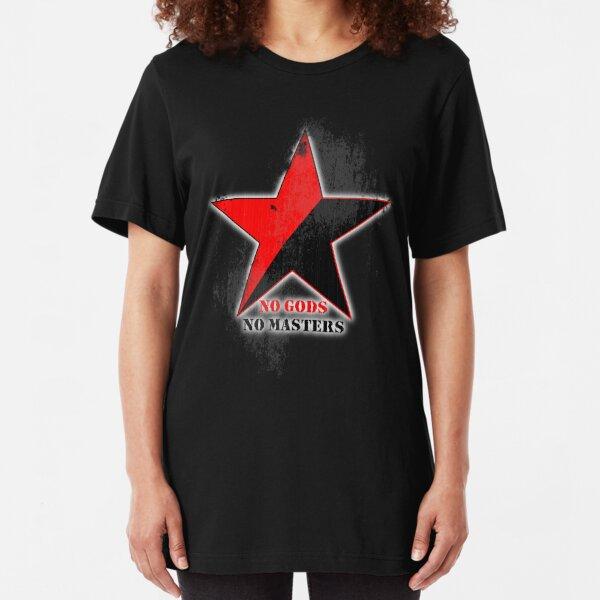 No Gods No Masters - Anarchist Star - grunge Slim Fit T-Shirt