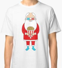 Santa Claus with popcorn and 3D glasses Classic T-Shirt
