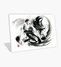 Aikido randori fight popular techniques martial arts sumi-e samurai ink painting artwork Laptop Skin