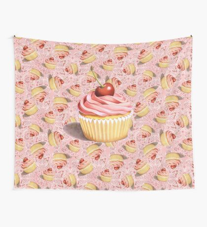 Pink Cupcake Paisley Twirling Wall Tapestry