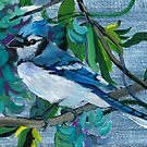 Fantasy in Blue: Blue Jay and Jade Vine by Wendy Roberts