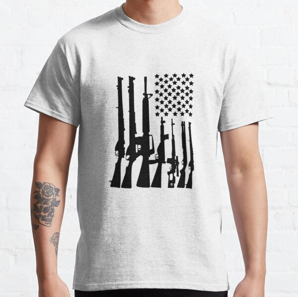 Big American Flag With Machine Guns black Classic T-Shirt