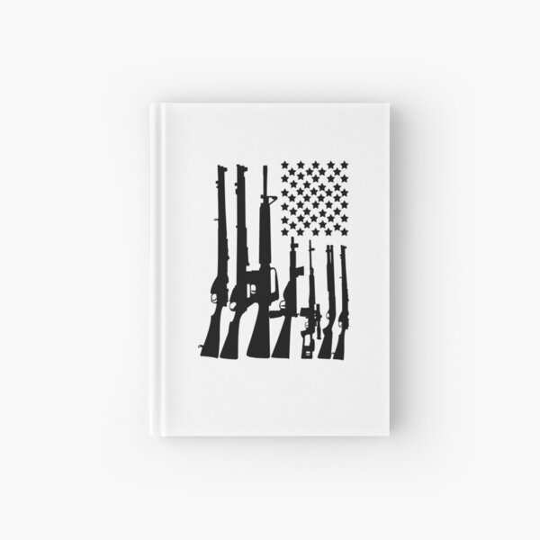 Big American Flag With Machine Guns black Hardcover Journal