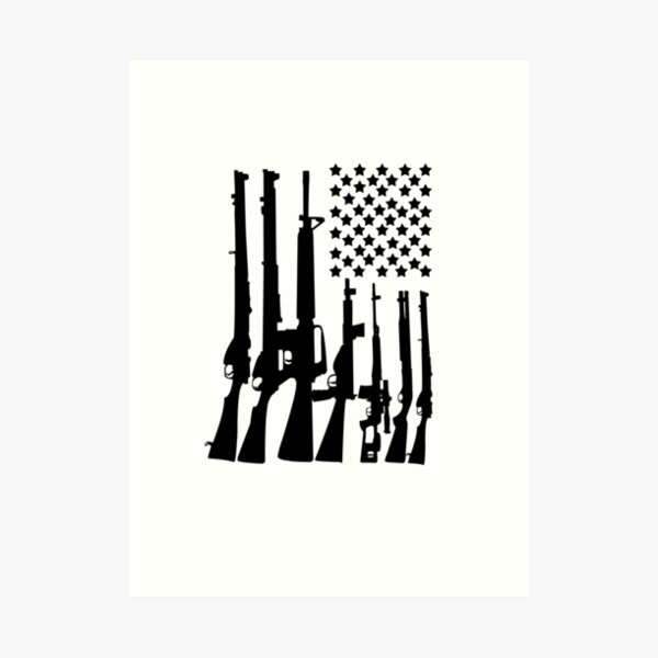 Big American Flag With Machine Guns black Art Print
