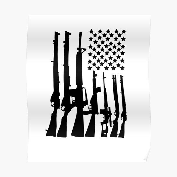 Big American Flag With Machine Guns black Poster