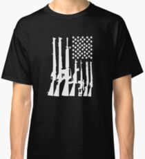 Big American Flag With Machine Guns white Classic T-Shirt
