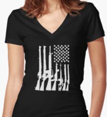 Big American Flag With Machine Guns white Women's Fitted V-Neck T-Shirt