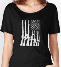 Big American Flag With Machine Guns white Women's Relaxed Fit T-Shirt