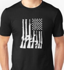 Big American Flag With Machine Guns white Unisex T-Shirt
