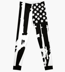 Big American Flag With Machine Guns white Leggings