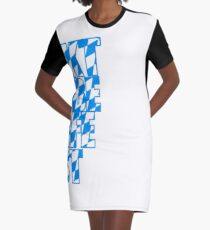 Oktoberfest text flag blue white pattern party celebrate design cool Graphic T-Shirt Dress