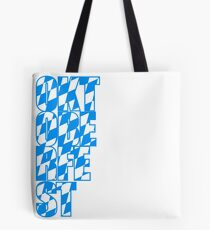 Oktoberfest text flag blue white pattern party celebrate design cool Tote Bag