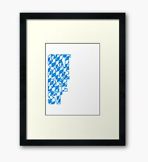 Oktoberfest text flag blue white pattern party celebrate design cool Framed Print