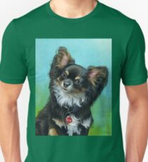 Butterfly eared black chihuahua portrait, acrylic painting T-Shirt