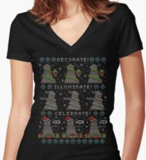 Decorate! Illuminate! Celebrate! Women's Fitted V-Neck T-Shirt