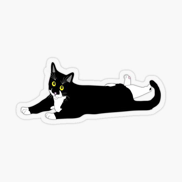 Cute Tuxedo Cat just laying around Black and White Cat Transparent Sticker