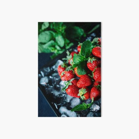 Ripe strawberry on ice with mint Art Board Print