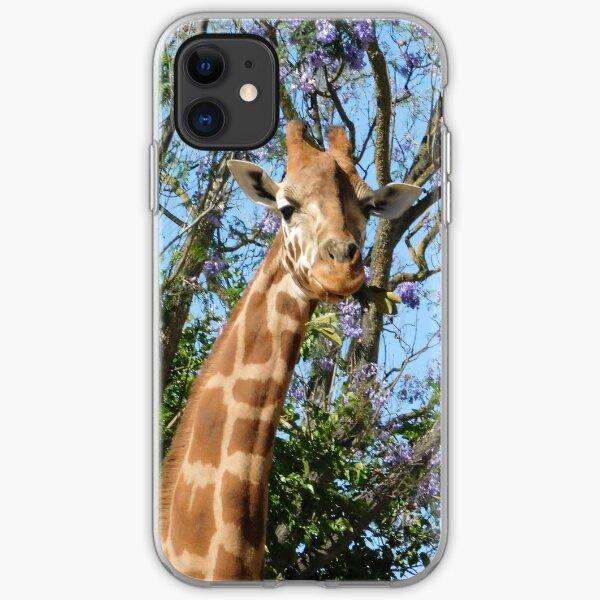 Giraffe and jacaranda  iPhone Soft Case