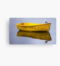 Yellow boat with gull Canvas Print