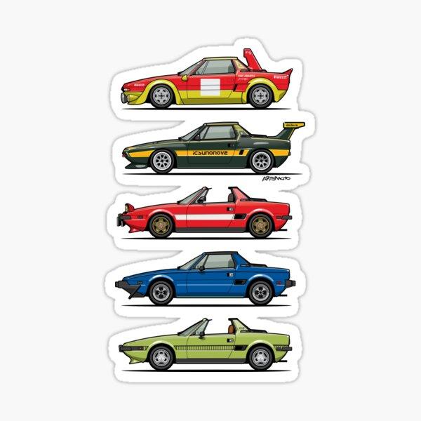 Stack of FlAT X1/9 Mid Engine Sport Cars Sticker