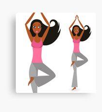 Motivation poster : Yoga teacher art / dark skin Pink Canvas Print
