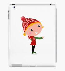 Cute christmas cartoon Girl in red costume iPad Case/Skin