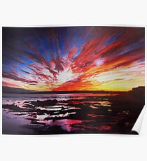 January Sunset Over Rockpools In Garryvoe Poster