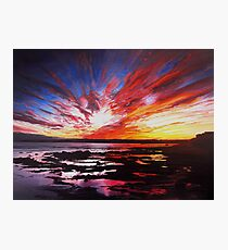 January Sunset Over Rockpools In Garryvoe Photographic Print