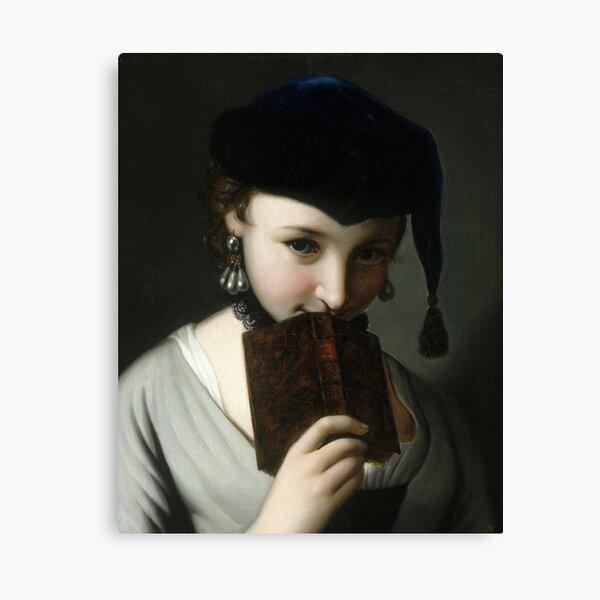 Girl with a Book (18th century) - Pietro Antonio Rotari Canvas Print