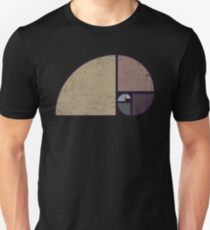 Fibonacci - The Golden Spiral in Geometry with Earth tones Slim Fit T-Shirt