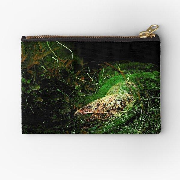 cicadas on green zipper pouch