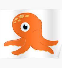 Orange underwater Octopus : for Kids Poster