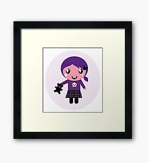 Little emo girl drawing. Vector Illustration. Framed Print