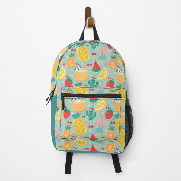 Cute Aesthetic Fruits Pattern | Pineapple Lemon Cherry Popsicle Coconut Cactus Pastel Mint Backpack
