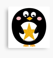 Penguin holding christmas yellow star Canvas Print