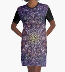 Neon Chakra Mandala Graphic T-Shirt Dress