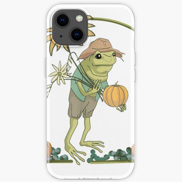 Frog with Flowers Harvest Pumpkin Fall Farmcore Cottagecore T-Shirt iPhone Soft Case