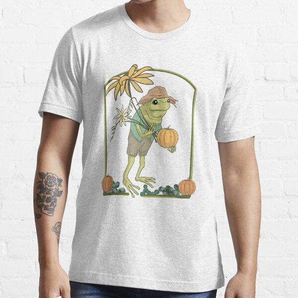 Frog with Flowers Harvest Pumpkin Fall Farmcore Cottagecore T-Shirt Essential T-Shirt