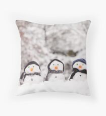Five cute snowmen dressed for winter Throw Pillow