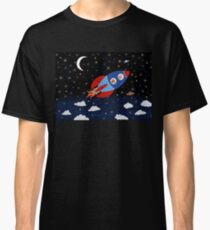 Space - Rocket - Cat - Dog Classic T-Shirt
