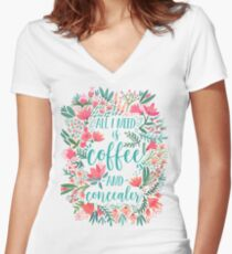 Coffee & Concealer – Juicy Palette Women's Fitted V-Neck T-Shirt