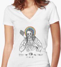 Bad Jesus :( Women's Fitted V-Neck T-Shirt