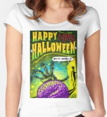 Halloween Brain Party  Women's Fitted Scoop T-Shirt