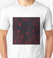 Pencil Line with Stars in Blue and Red T-Shirt