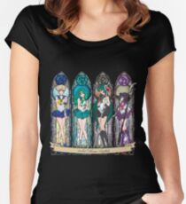 Camiseta entallada de cuello ancho S.M. Crystal stained glass style